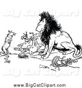 Big Cat Vector Clipart of a Black and White Fox and Lion with Prey by Prawny Vintage