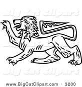 Big Cat Vector Clipart of a Black and White Heraldic Lion by Vector Tradition SM