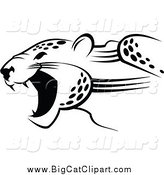Big Cat Vector Clipart of a Black and White Jaguar by Vector Tradition SM