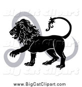 Big Cat Vector Clipart of a Black and White Leo Lion and Symbol by AtStockIllustration