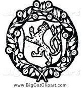 March 30th, 2015: Big Cat Vector Clipart of a Black and White Leopard Coat of Arms by Prawny Vintage
