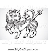 Big Cat Vector Clipart of a Black and White Lion by BestVector