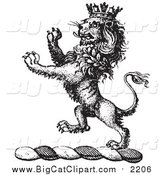Big Cat Vector Clipart of a Black and White Lion Crest with a Crown by Picsburg