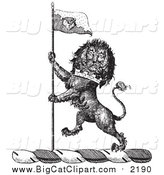 Big Cat Vector Clipart of a Black and White Lion Crest with a Flag by Picsburg