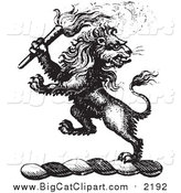 June 17th, 2016: Big Cat Vector Clipart of a Black and White Lion Crest with a Torch by Picsburg
