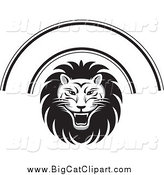 Big Cat Vector Clipart of a Black and White Lion Face and Arch by Lal Perera