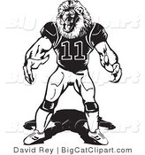 Big Cat Vector Clipart of a Black and White Lion Football Player Facing Forward by David Rey