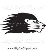 Big Cat Vector Clipart of a Black and White Lion Head in Profile by Johnny Sajem
