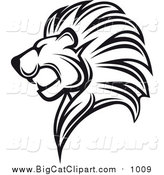 Big Cat Vector Clipart of a Black and White Lion Head in Profile by Vector Tradition SM