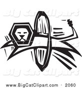 Big Cat Vector Clipart of a Black and White Lion Leaping Through a Hoop by Xunantunich