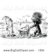 Big Cat Vector Clipart of a Black and White Lion Pushing a Lamb in a Stroller by Prawny Vintage