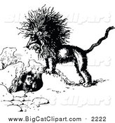 Big Cat Vector Clipart of a Black and White Mad Lion and Boy in a Hole by Prawny Vintage