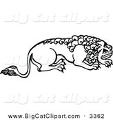 Big Cat Vector Clipart of a Black and White Male Lion Crouching by Prawny