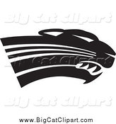 Big Cat Vector Clipart of a Black and White Panther Cougar or Jaguar Head by Johnny Sajem