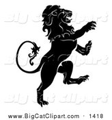 Big Cat Vector Clipart of a Black and White Rearing Heraldic Lion by AtStockIllustration