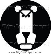 Big Cat Vector Clipart of a Black and White Round Lion Icon by Vector Tradition SM