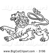 Big Cat Vector Clipart of a Black and White Royal Heraldic Lion by Vector Tradition SM