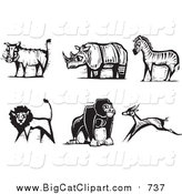 Big Cat Vector Clipart of a Black and White Safari Boar, Rhino, Zebra, Lion, Gorilla and Antelope by Xunantunich