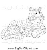 Big Cat Vector Clipart of a Black and White Seated Tiger by Alex Bannykh