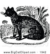 Big Cat Vector Clipart of a Black and White Sitting Ocelot by Prawny Vintage