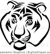 Big Cat Vector Clipart of a Black and White Tiger by Vector Tradition SM
