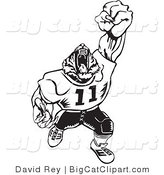 Big Cat Vector Clipart of a Black and White Tiger Football Player Roaring on White by David Rey