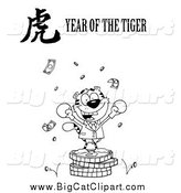 Big Cat Vector Clipart of a Black and White Victorious Business Tiger on Coins, with a Year of the Tiger Chinese Symbol and Text by Hit Toon