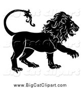 Big Cat Vector Clipart of a Black and White Walking Lion by AtStockIllustration