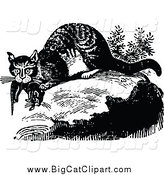Big Cat Vector Clipart of a Black and White Wild Cat with Prey by Prawny Vintage