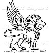 Big Cat Vector Clipart of a Black and White Winged Lion Profile by Vector Tradition SM