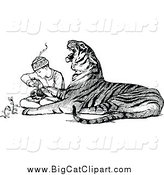 Big Cat Vector Clipart of a Black and White Zookeeper Tending to an Injured Tiger by Prawny Vintage