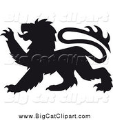 Big Cat Vector Clipart of a Black Heraldic Lion Clawing by Vector Tradition SM
