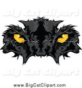 Big Cat Vector Clipart of a Black Panther Face with Yellow Eyes by Chromaco
