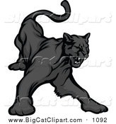 Big Cat Vector Clipart of a Black Panther Growling by Chromaco