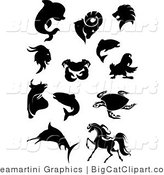 Big Cat Vector Clipart of a Black Silhouetted Lion and Other Animals by Vector Tradition SM