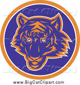 Big Cat Vector Clipart of a Blue and Orange Tiger Face in an Orange White and Blue Circle by Patrimonio