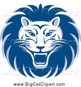 Big Cat Vector Clipart of a Blue and White Roaring Lion Face by Lal Perera