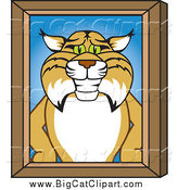 Big Cat Vector Clipart of a Bobcat Character Portrait with a Wood Frame by Toons4Biz