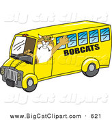 Big Cat Vector Clipart of a Bobcat Driving a School Bus by Toons4Biz
