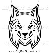 Big Cat Vector Clipart of a Bobcat Face by Vector Tradition SM