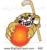 Big Cat Vector Clipart of a Bobcat Grabbing a Hockey Ball by Toons4Biz