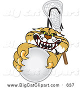 Big Cat Vector Clipart of a Bobcat Grabbing a Lacrosse Ball by Toons4Biz