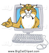 Big Cat Vector Clipart of a Bobcat in a Computer by Toons4Biz