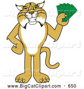 Big Cat Vector Clipart of a Bobcat Mascot Holding Cash by Toons4Biz