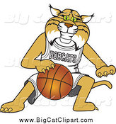 Big Cat Vector Clipart of a Bobcat Playing Basketball by Toons4Biz