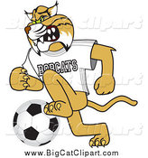 Big Cat Vector Clipart of a Bobcat Playing Soccer by Toons4Biz