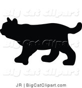 Big Cat Vector Clipart of a Bobcat Silhouette by JR