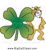 Big Cat Vector Clipart of a Bobcat with a Clover by Toons4Biz