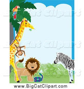 Big Cat Vector Clipart of a Border of a Parrot in a Tree, Monkey on a Giraffe, Lion, Snake and Zebra by Maria Bell