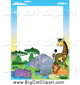 Big Cat Vector Clipart of a Border of African Animals by a Watering Hole with White Space by Visekart